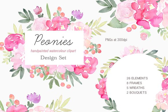 Peonies Clip Art Design Set
