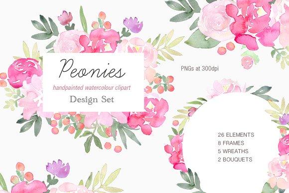 Peonies Clip Art Design Set