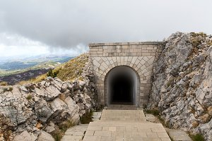 tunnel on the mountain in Lovcen in Montenegro