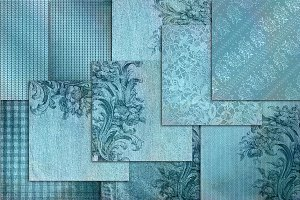 Teal wedding scrapbook paper linen