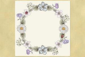 Floral Wreath. Vintage style