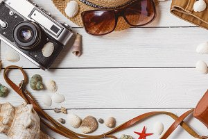 Traveler Items Vacation Accessories Holiday Long Weekend Stuff Equipment Background Top View Concept with Copyspace