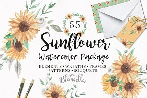 Sunflower Watercolor Clipart Floral