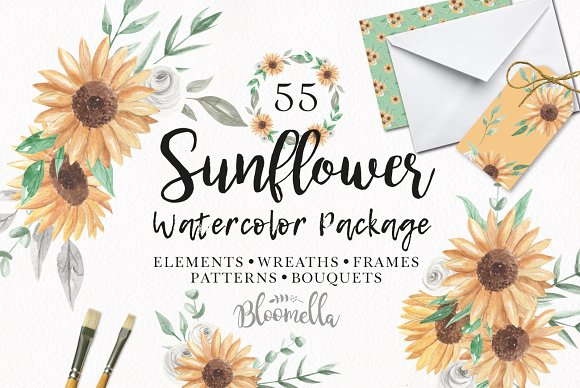 Sunflower Watercolor Package Floral