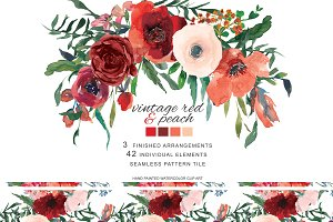 30% Off Watercolor Vintage Red Roses