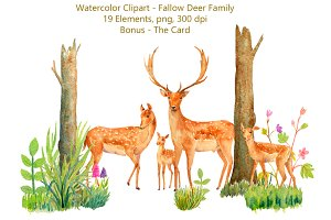 Watercolor Fallow Deer Family