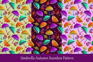 Umbrella Autumn Seamless Pattern