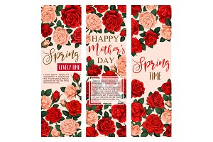 Vector floral flowers roses banners for Mother day