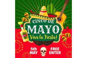 Cinco de Mayo Mexican vector fiesta invitation