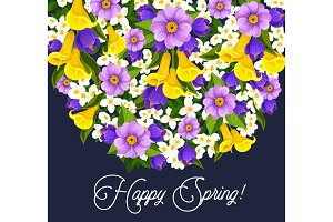 Vector springtime crocuses flowers greeting card
