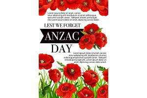 Anzac Day Australian vector Lest We Forget poster
