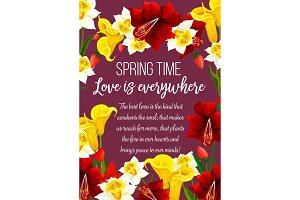 Vector spring time flowers seasonal greeting card