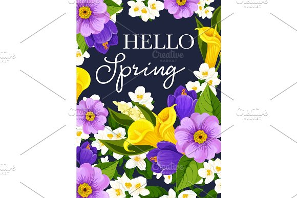Vector Hello Spring Flowers Greeting Card