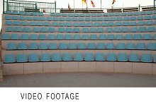 Outdoor stage with empty seats