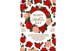 Vector rose flowers poster for Mothers Day