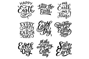 Happy Earth Day Save Planet text vector icons