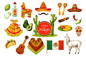 Cinco de Mayo mexican fiesta party icon design