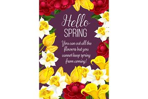 Hello Spring festive banner with Springtime flower