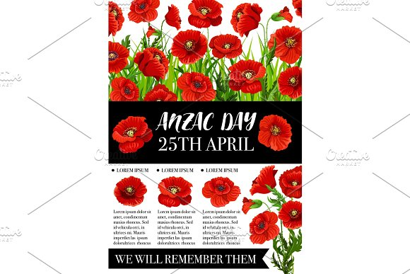 Anzac day memorial banner with red poppy flower illustrations anzac day memorial banner with red poppy flower illustrations mightylinksfo