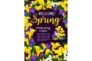 Spring Season Holiday welcome banner with flower