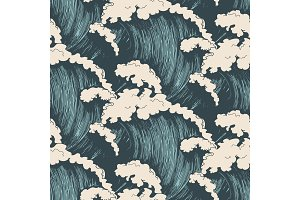 Ocean waves seamless pattern