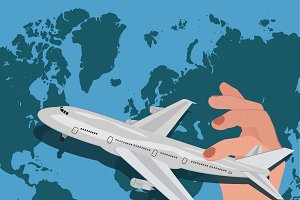 International flights, vector illust