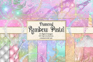 Diamond Rainbow Pastel Graphics
