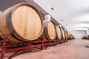 American oak barrels with red wine