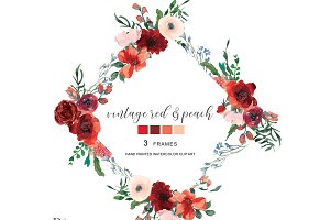 Watercolor Red Floral Frame Set