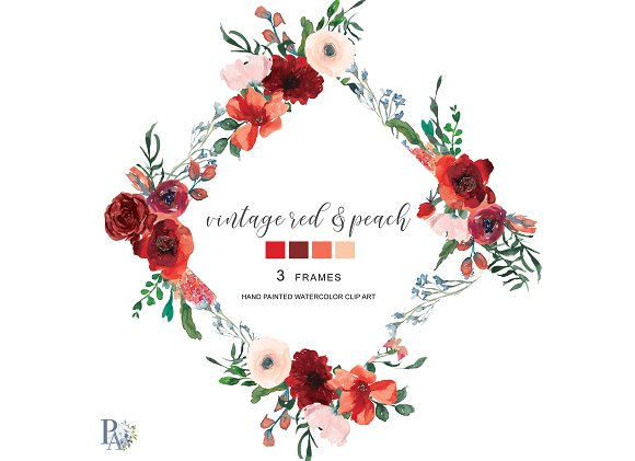 Watercolor Red Floral Frame Set