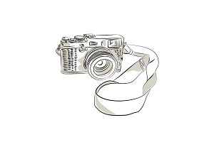 35mm SLR Film Camera Drawing