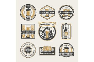 Craft beer vintage isolated label set