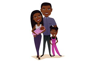 Happy black family couple with children