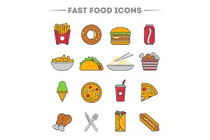 Fast food colorful icon set