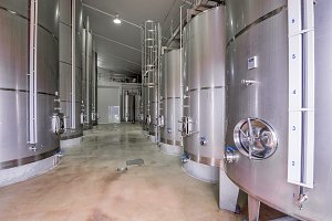 Modern wine cellar with stainless
