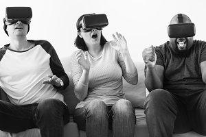Group of friends enjoying VR
