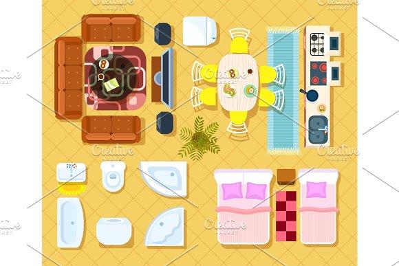 Top View Apartment Interior Set