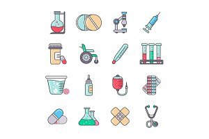 Medical colorful line icon set