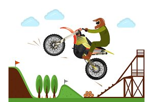 Extreme motocross rider jumping poster