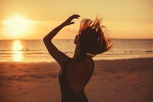 Sunset girl portrait