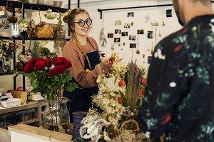 Florist suggesting flower bouquet