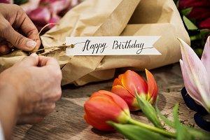 Closeup of birthday flower bouquet
