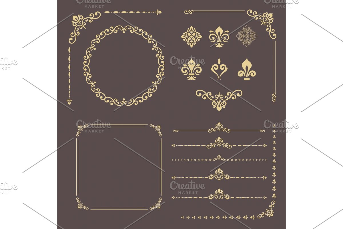 Vintage Set of Vector Horizontal, Square and Round Elements in Patterns - product preview 8