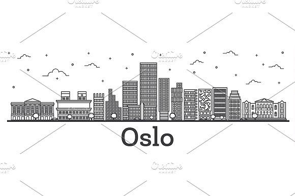 Outline Oslo Norway City Skyline