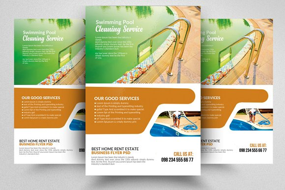 Pool Cleaning Service Psd Flyer