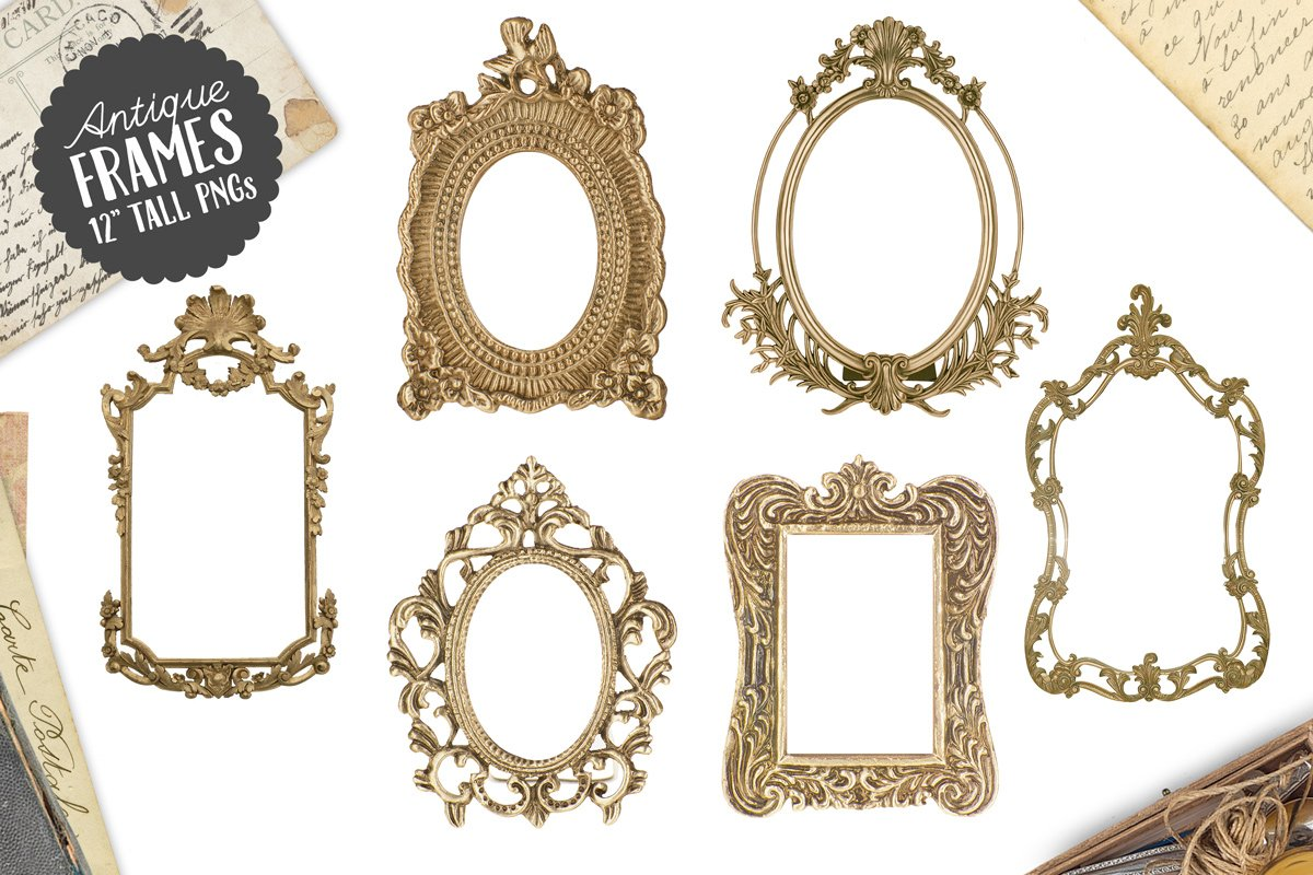 6 Antique Gold Frame Graphics Png Graphics Creative Market