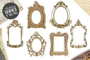 6 Antique Gold Frame Graphics PNG