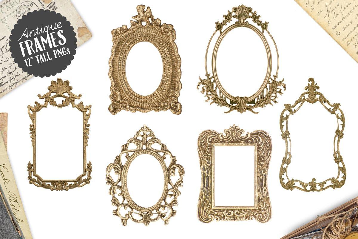 f03e4d9b253c 6 Antique Gold Frame Graphics Png Creative Market
