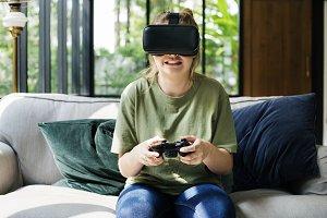 People enjoying virtual reality