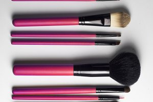 Pink professional make-up brush
